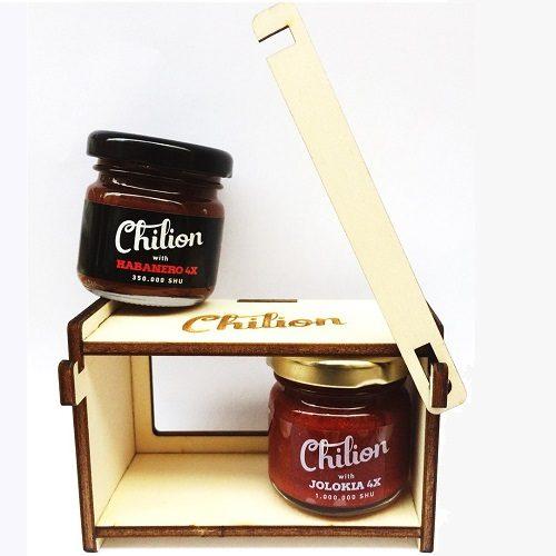 4X chili szósz válogatás fadobozban -Chilion